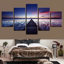 Modern HD Print Wall Art Frame Canvas Pictures 5 Pieces Sunset Glow Wooden Bridge Sea Level Landscape Painting Poster Home Decor