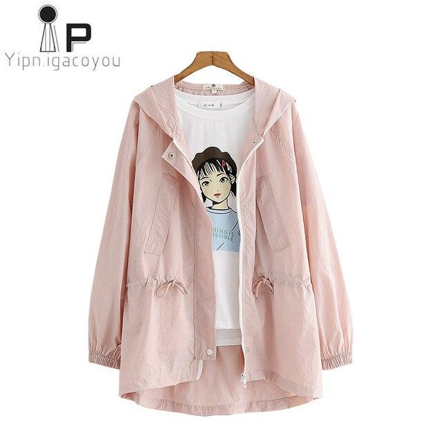 21750d367c9d Harajuku Short Sunscreen Coat Women Thin Summer Jacket Pink Coat Hooded  Basic Female Overcoat Ladies Korean