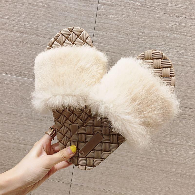 cd5757f2f32b 2019 luxury brand fur slippers women shoes home slippers designer fashion  fur slides furry slippers ladies pantufa buty damskie-in Slippers from Shoes  on ...
