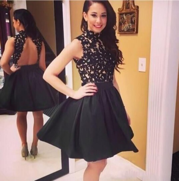 03c93862546 Hot Sale High Neck Beaded Lace Black Short Homecoming Dresses 2016 Girls  Graduation Dress 8th Grade