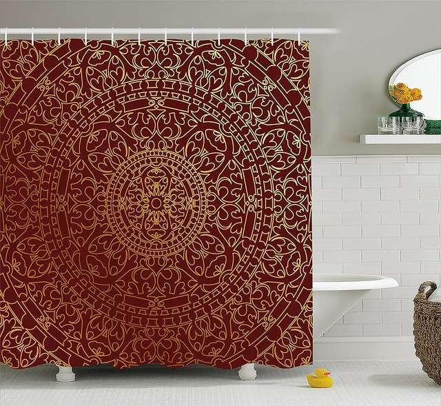 Online Shop Maroon Shower Curtain Antique Arabic Artwork Oriental Mandala Inspired Round Ornament Moroccan Ethnic Decor Set 84 Inches