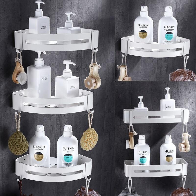 Nail Free Bathroom Shelf Cosmetic Rack With Single Lever Bathroom Rack Shelf Rack Shower Room Corner Shelf Space Aluminum C lengthened thickening bathroom towel bar single lever rack free nail