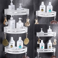 Nail Free White Bathroom Shelf Cosmetic Rack With Single Lever Bathroom Rack Shelf Rack Shower Room Corner Shelf Space Aluminum