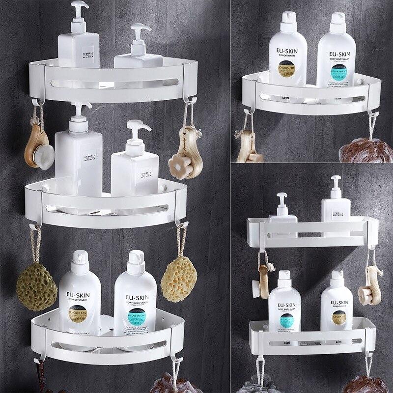 Prego livre branco prateleira do banheiro rack de cosméticos com única alavanca rack de prateleira do banheiro rack de chuveiro quarto canto prateleira espaço alumínio