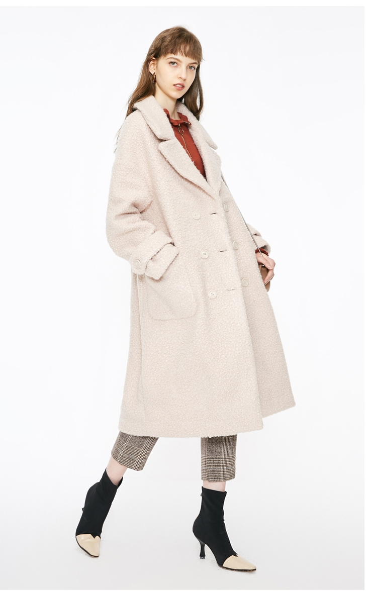 ONLY womens' winter new oatmeal Teddy hair long coat Loose version Rear slit hem design|118422505 7