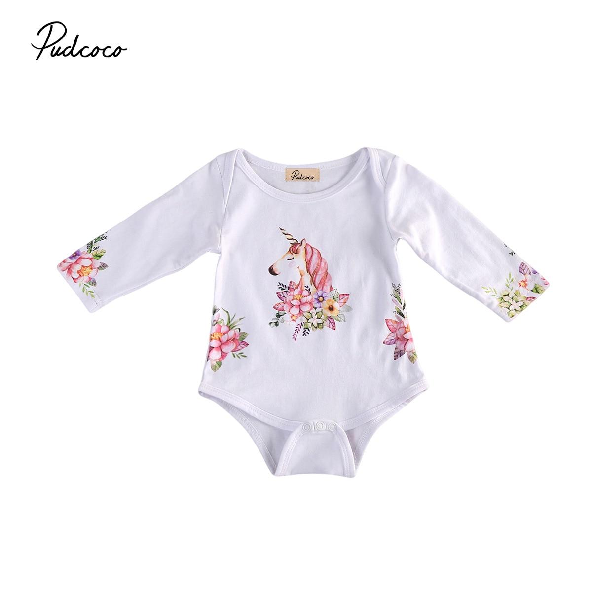 Pudcoco Long Sleeve Unicorn   Romper   Newborn Baby Boys Girls Cotton
