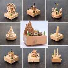 Caja de música mecánica de madera caja de 18 toneladas, carrusel Musical, capatones de madera de feliz cumpleaños, música, decoración del hogar, juguetes educativos para edades tempranas