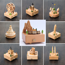 Mechanical Wooden Music Box 18 Tones caja Musical Carousel Happy Birthday Wooden Cakets Musica Home Decor Early Education Toys