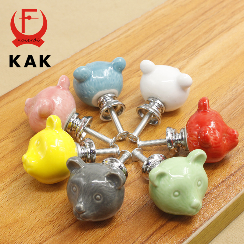 KAK 10pcs/lot Ceramic Bear Drawer Knobs 3D Cartoon Cabinet Cupboard handles Novelty Creative Fashion Furniture Handles Hardware