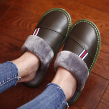 Genuine Leather Couples Winter Indoor Slippers Sheepskin Warm Comfortable Home Shoes Anti-Slip Casual for Men&Women