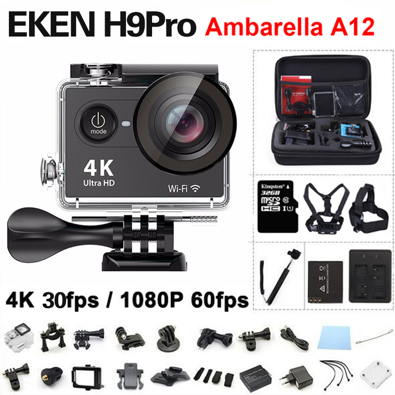 EKEN H9 Pro Action camera ultra 4K / 30fps Ambarella A12 3840*2160 remote WiFi pro Helmet Cam go H9Pro waterproof Sport camera