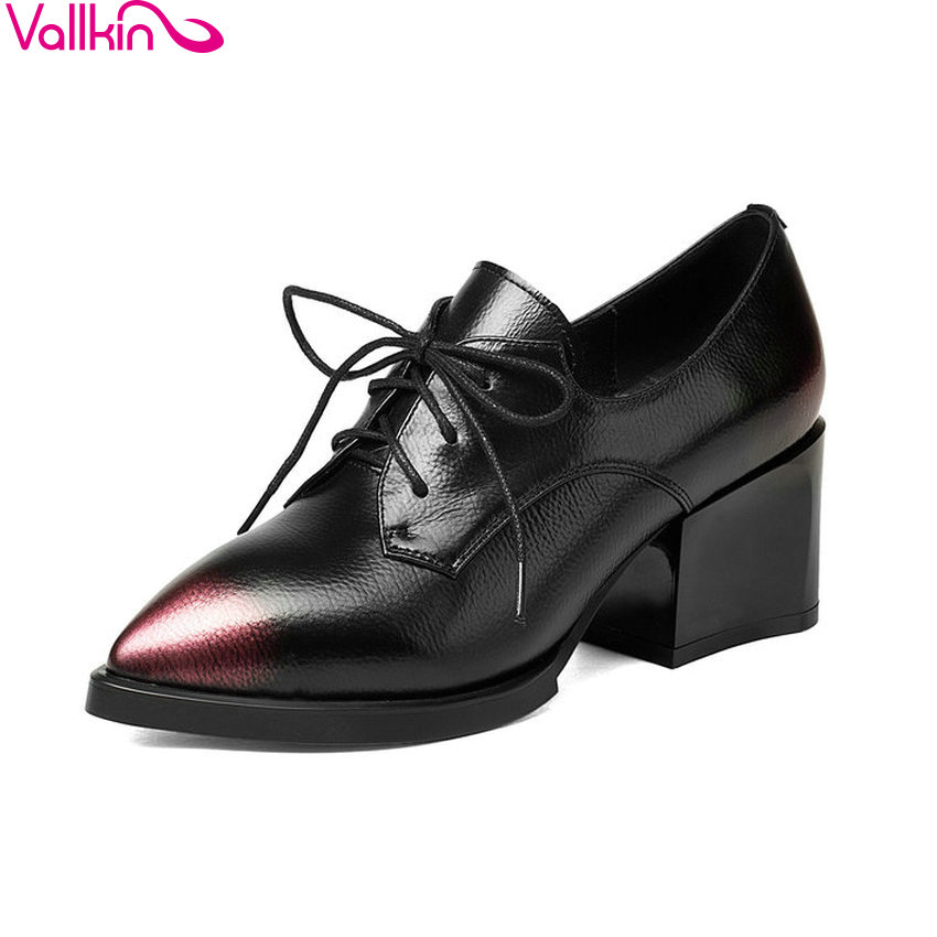 ESVEVA 2018 Women Pumps Western Style Pointed Toe Square High Heels PU Genuine Leather Lace Up Fashion Ladies Shoes Size 34-39 facndinll new black patent genuine leather pointed toe rhinestone sexy high heels lace up women pumps ladies party casual shoes