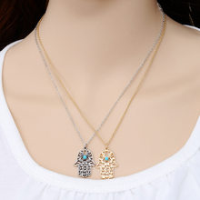 2018 Moana Real Rushed Maxi Necklace Collier Brand Design Luck Hamsa Hand Pendants Fatima For Palm Statement Charm Collares(China)
