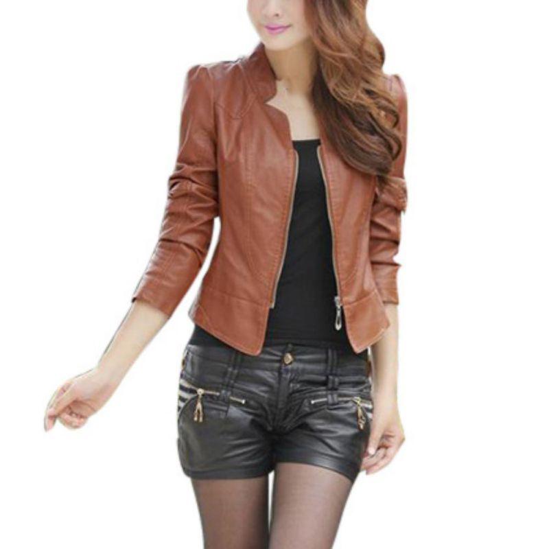 Осенняя Женская куртка, однотонная Базовая куртка на молнии из искусственной кожи