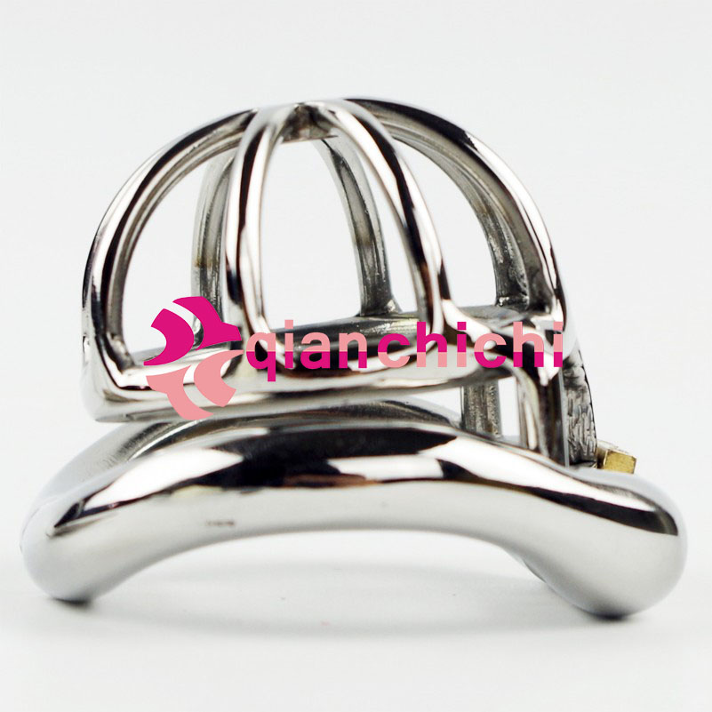Male Chastity Device Stainless Steel Super Small Size Penis Lock with 4 Size Arc Base Ring Qianchichi tgr098 a 10 stainless steel male ring size 9