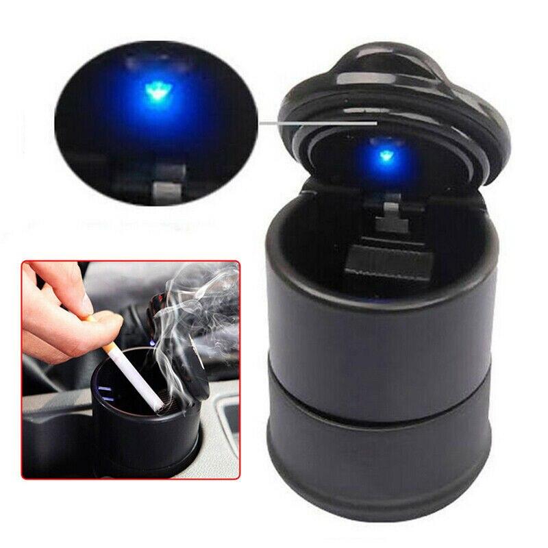 LED Car Ashtray Auto Travel Cigarette Ash Holder Cup With Blue LED Light Indicator Ashtray Car Accessories 2019 Hot Sale