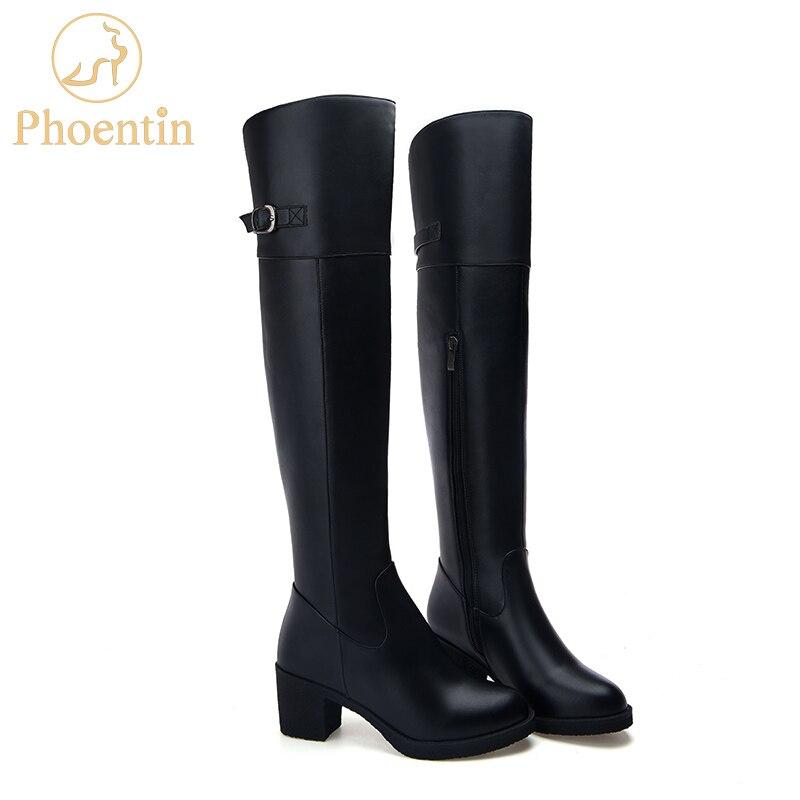 Phoentin botas de Invierno para mujer con cierre de cremallera de cuero genuino con ajuste de hebilla zapatos mujer plataforma chica botas china FT202-in Botas sobre la rodilla from zapatos    1