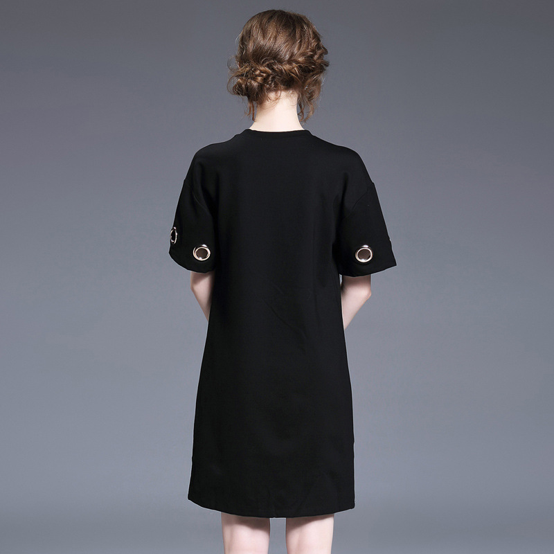 Femmes Métal 2017 Casual Lâche Anneaux En Noir Coton Nouveau Simple Robe Été Robes Chemise 17106 Printemps wHtHqS