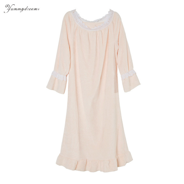 new product 96688 14c30 US $41.24 |Yummydreams 2017 Herfst Winter Vrouwen Prinses Kant Nachtjapon  Flanel Pyjama Nachthemd Lange Mouw Thuis Kleding Warm Nachtkleding in ...