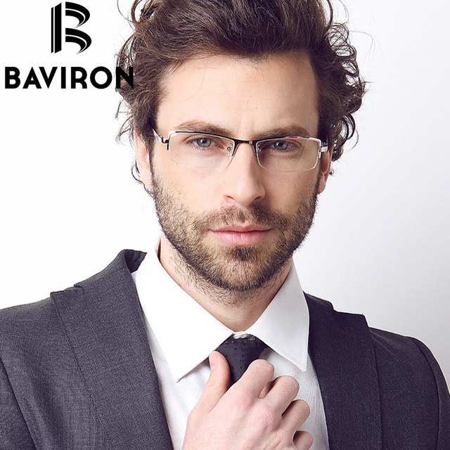 BAVIRON Pure Titanium Optical Eyewear Frame Semi Rimless Rectangle Glasses Men And Women Myopia Frame For Reading Computer B9036