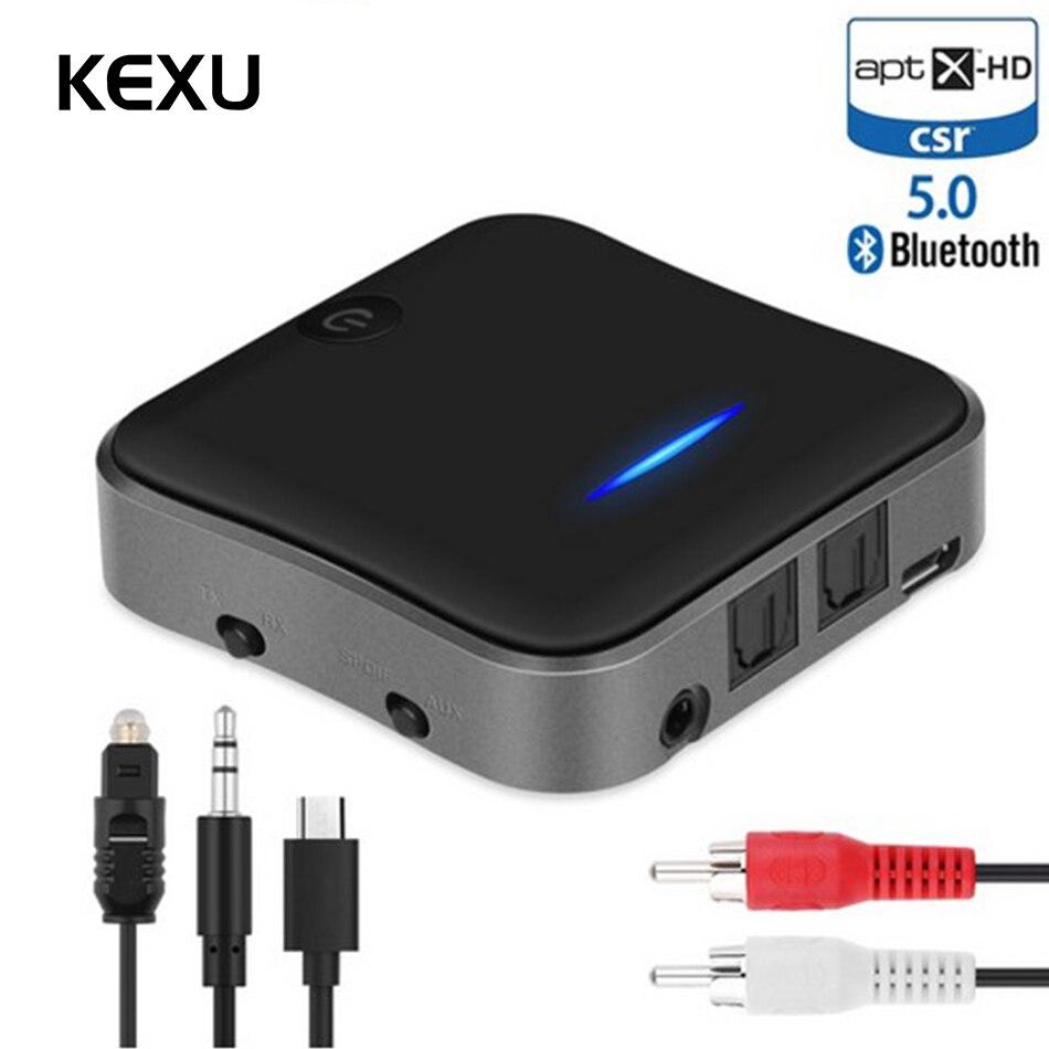 KEXU Bluetooth 5.0 Audio émetteur récepteur Aptx HD adaptateur optique Toslink/3.5mm AUX/SPDIF pour voiture TV casque TV voiture etc