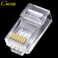 cncob rj45 cat6 plug 8P8C computer cable connector modular plug 50u gilded chip Gigabit transmission RJ45 8 pin crystal head
