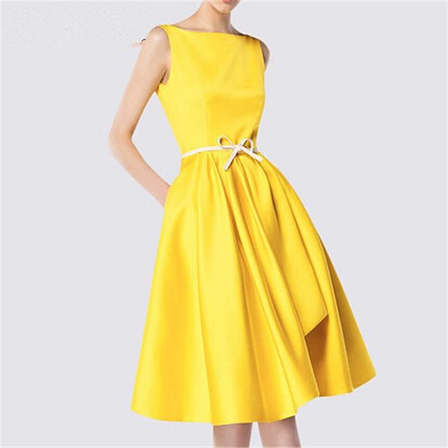 High Customized Summer Yellow Solid Midi Length Runway Woman Dress ...
