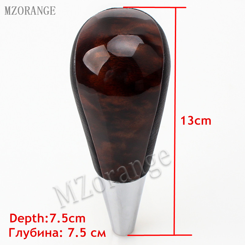 MZORANGE Leather Wood Gear Shift Knob Replacement For Toyota Land Cruiser Prado FJ120 2003 2007 Automatic