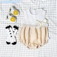 Bebé mameluco del verano recién nacido Bebé Ropa para niñas primera 1st cumpleaños ropa de encaje arco infantil Sunsuit con sombrero