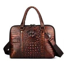 Men Genune Leather Briefcase Bolso Hombre Crocodile Business Men Handbags Laptop Computer Bag Bolso Negocios