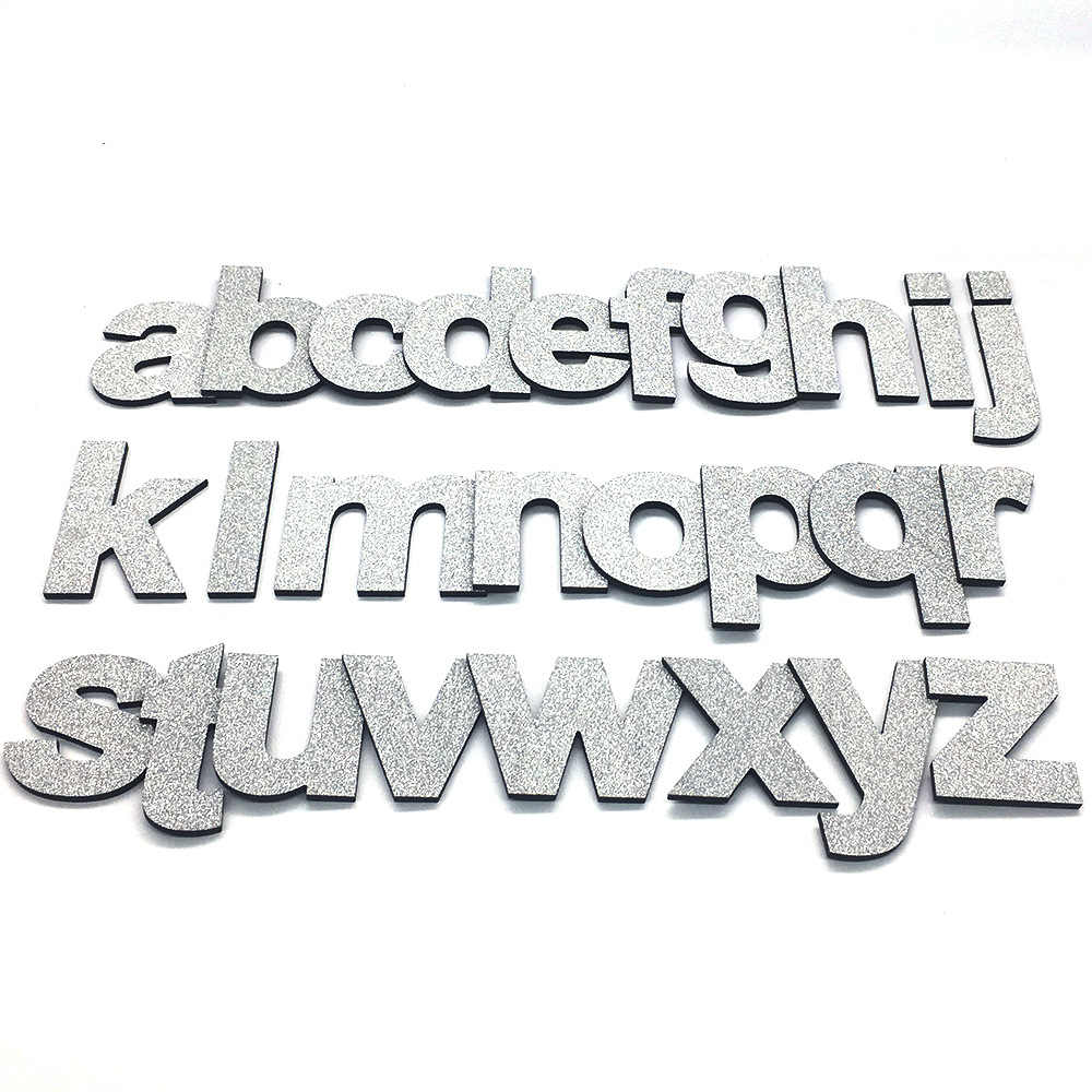 DIY 3D Shiny Silver Lowercase English Letters Wall Stickers Living Room Bedroom Background Wall Home Decor PVC Removable Sticker