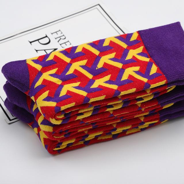 New Casual Combed Cotton Men's Socks Tend Harajuku Street Hip Hop Funny Happy Socks Colorful Pattern Long Socks For Men