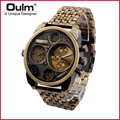 Oulm 9316 Wrist Watch Men Analog Quartz Dial Dual Time Round Dial Steel Watchband Military Analog Wristwatch