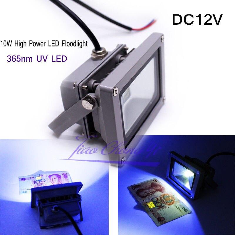 Outdoor 10W High Power LED Floodlight UV Light DC12V 365nm 370nm purple light