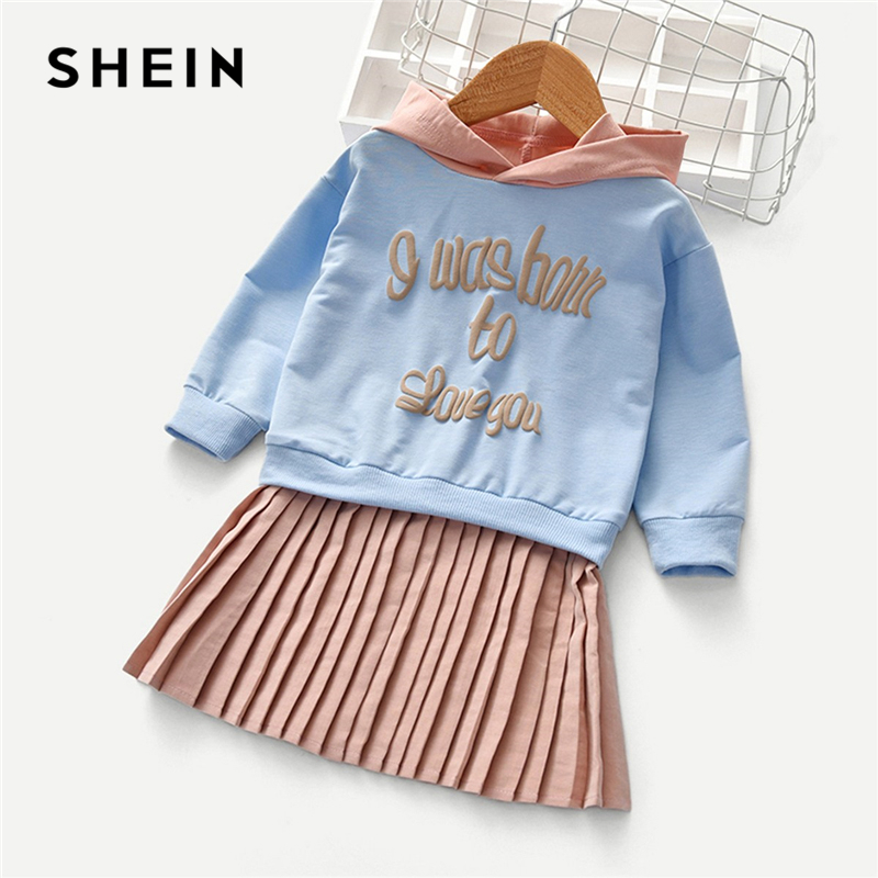 SHEIN Kiddie 2 In 1 Hoodie Casual Shift Toddler Girls Pleated Sweatshirt Dress 2019 Spring Long Sleeve Short Kids Dresses