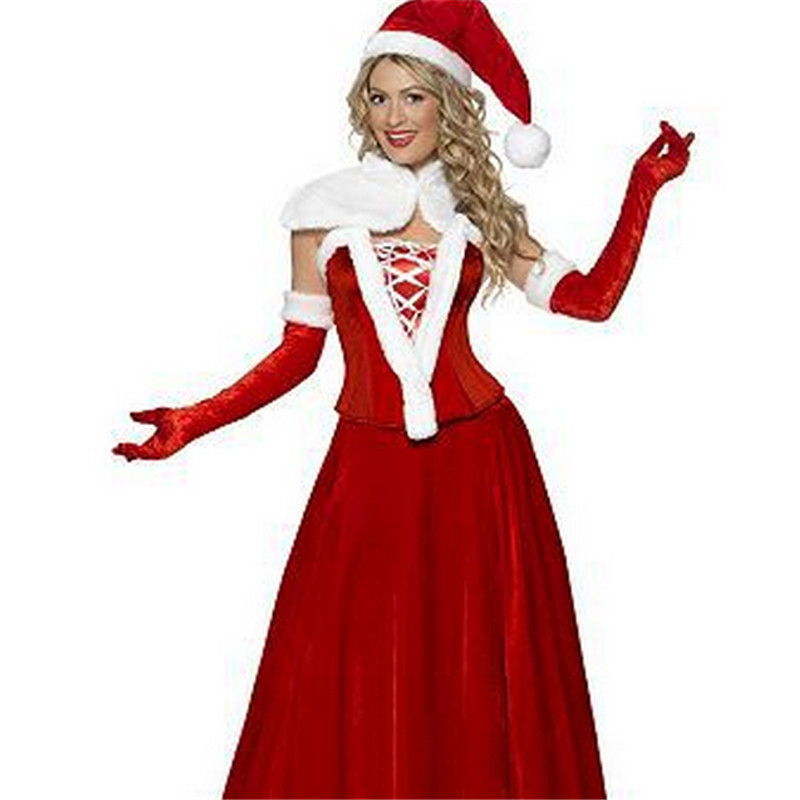 2018 New hot sale fashion high quality red women Christmas dress with hat Xmas queen luxury cosplay Christmas women costumes