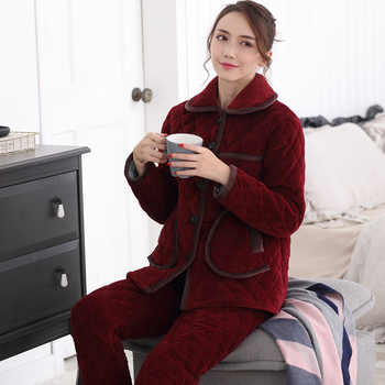 Thicken Coral Fleece Women Pajamas Set Winter Ladies Warm Sleepwear Mom Long Sleeved Lingerie Femme Home Clothes Christmas Gift