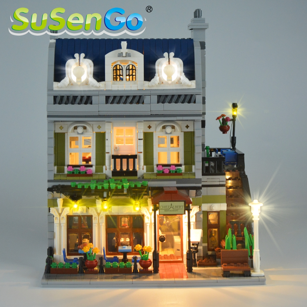 SuSenGo LED Light Set För Creator Street Parisian Restaurant Lighting Set 10243