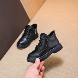 Новые детские кожаные повседневные Ботинки martin, хлопковые ботинки, черные бархатные зимние ботинки
