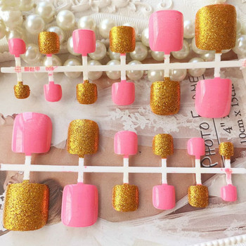 Fashion Glitter Gold False Toenail Sweet Pink Fake Foot Nails Art DIY Nail Tips With Glue Sticker Manicure Tools T026 artificial nails