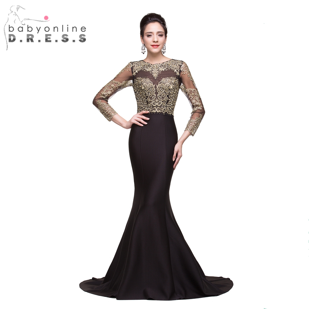 Babyonline Customized Vintage Gold Lace Appliques Long Sleeve Mermaid Prom Dresses 2018 Sexy Hole Back Long Evening Party Dress