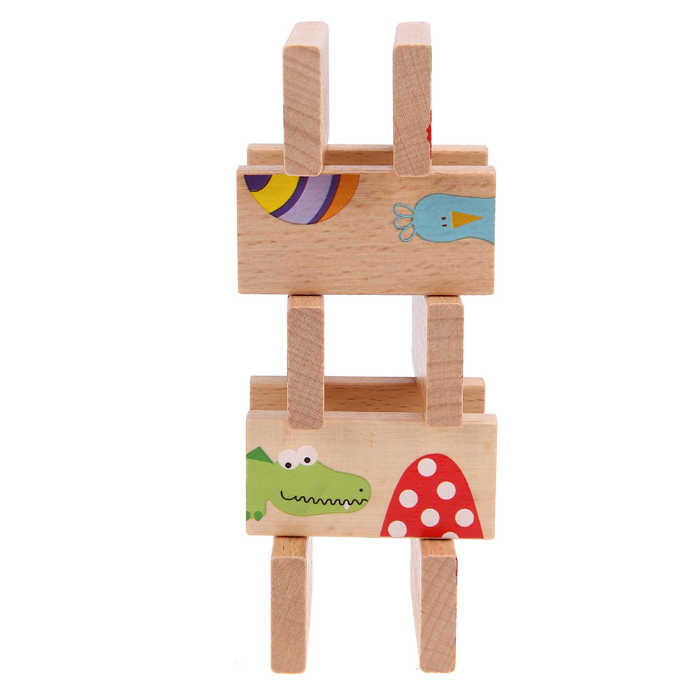 28pcs/set Cartoon Animal Colored Dominoes Wooden Puzzle Cartoon Montessori Educational Baby Toys Cute Birthday Gifts Funny Games magnetic wooden puzzle toys for children educational wooden toys cartoon animals puzzles table kids games juguetes educativos