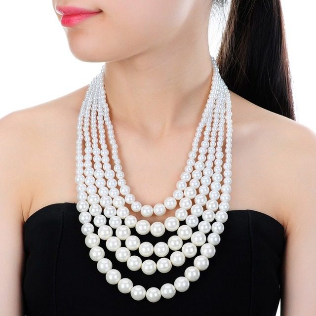 Best Selection New Year's Evening Wear Necklaces Resin White & Black Faux Pearl Multi Strand 5 Layers Chunky Dressy Bib Necklace