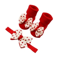 NewCute 3 colors 0 1T Christmas style bow knot Dot Double Layer Bow Baby Cotton Socks Dispensing Non slip Baby Socks + Hair Band