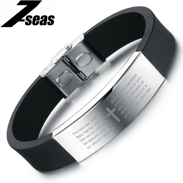 Clic Men Jewelry Silicone Bands Rubber Bracelets Male Stainless Steel Charm Bracelet Lenght Adjule