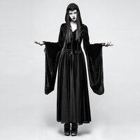 Панк рейв Готический Ведьма вампир черное платье косплэй этап бархат толстовка богиня длинные платья