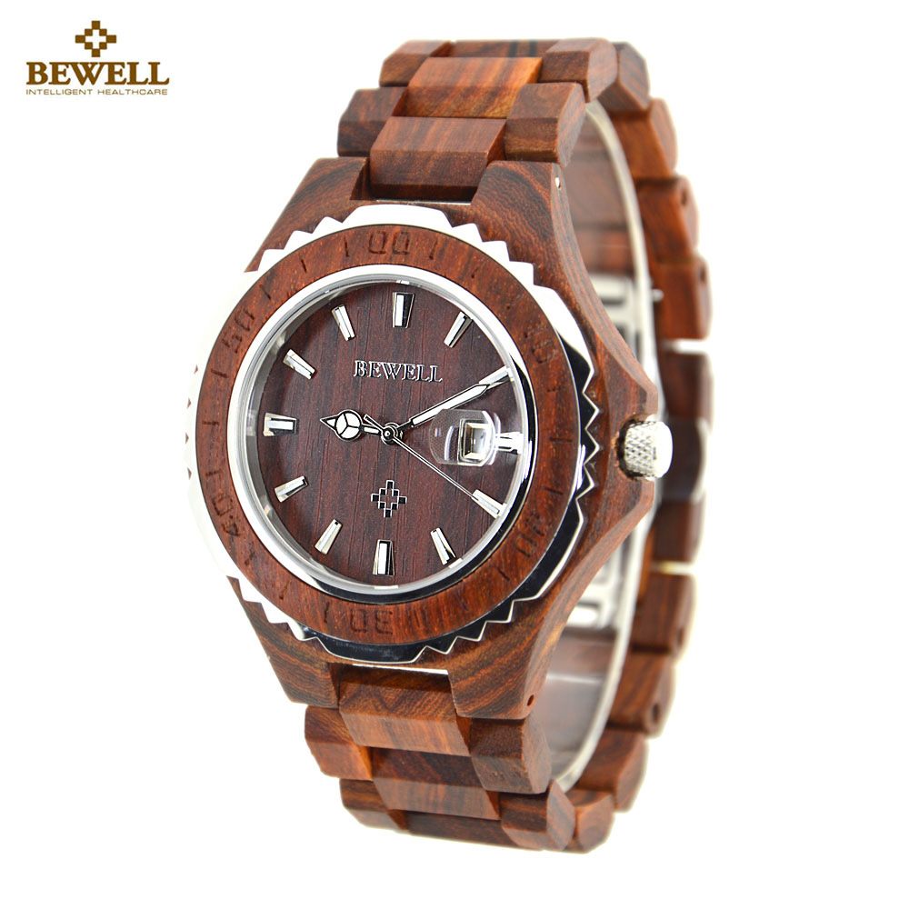 BEWELL Wood Watch Men Handmade Wooden Women Watch Luxury Top Brand Couple Wrist Watch Men Design Lover Quartz Watch Clock saat