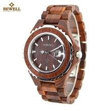 BEWELL Wood Watch Men Handmade Wooden Women Watch Luxury Top Brand Couple Wrist Watch Men Design Lover Quartz Watch Clock saat