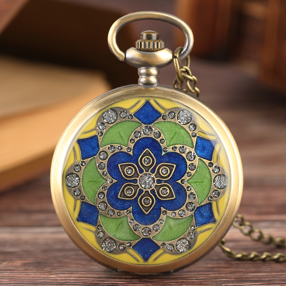 Vintage Green Blue Epoxy Jade Flower Pocket Watch Women Ladies Girls Necklace Pendant Chain Crystal Clock Birthday New Year Gift