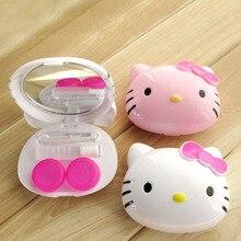 28127e022 1PCS Cartoon Hello Kitty Glasses Double Contact Lenses Box Contact Lens  Case For Eyes Care Kit